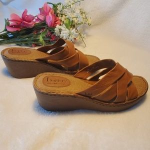 Born Boc Brown Leather Sandals Size 10